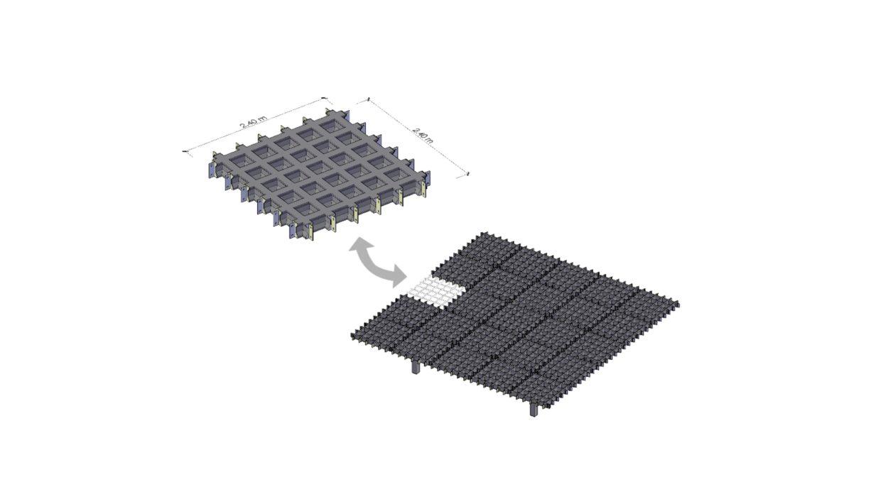 Principe du système porteur modulaire et réutilisable.